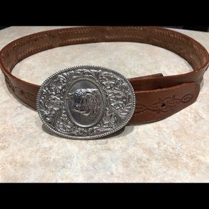 Vintage Leather Belt with Buckle 36